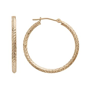 14k Gold Faceted Hoop Earrings