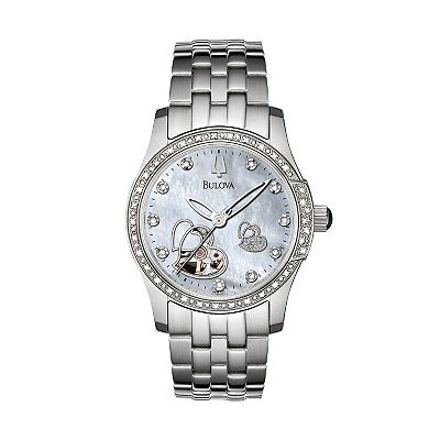 Bulova Stainless Steel Diamond Accent Automatic Skeleton Watch - Women