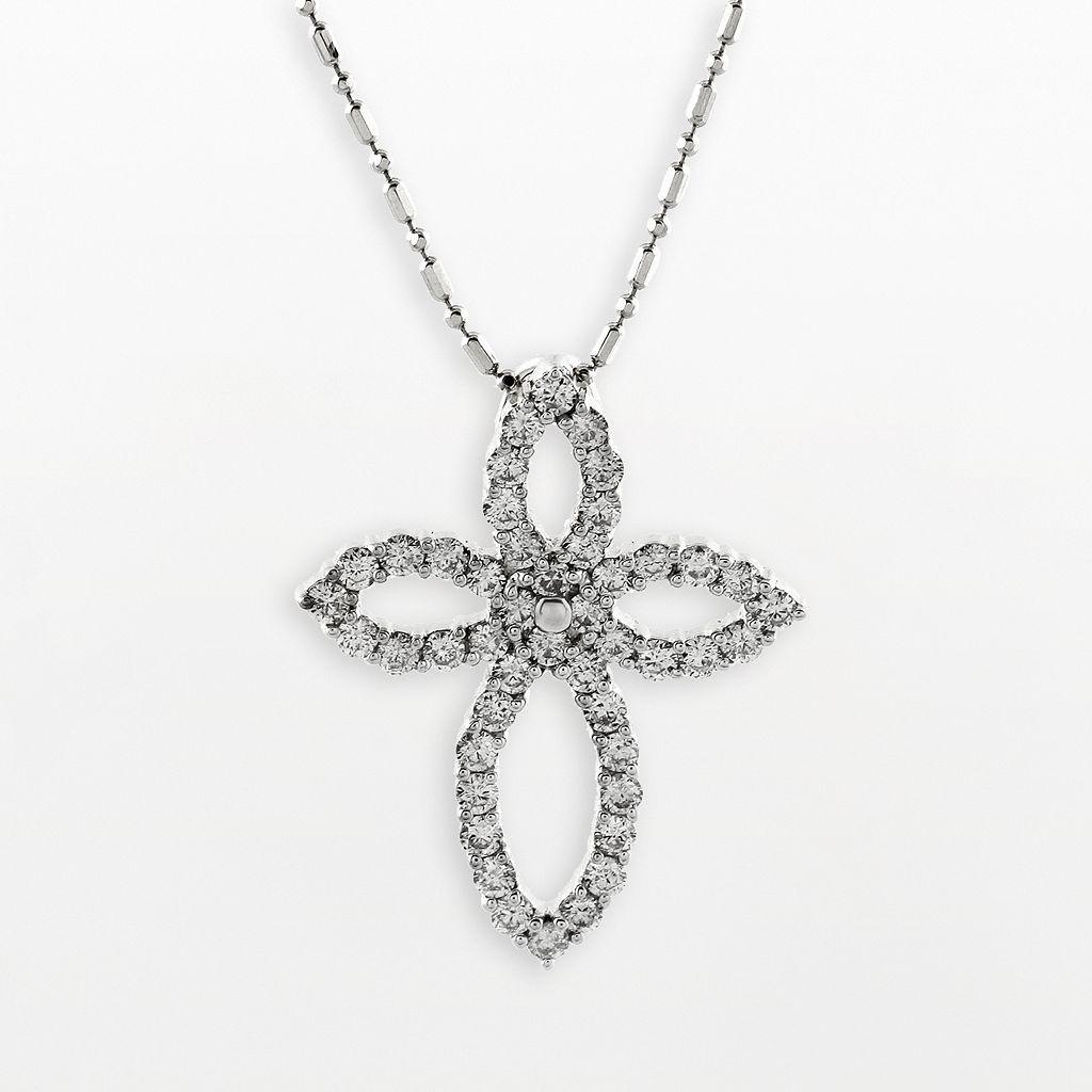 14k White Gold 1-ct. T.W. Diamond Cross Pendant