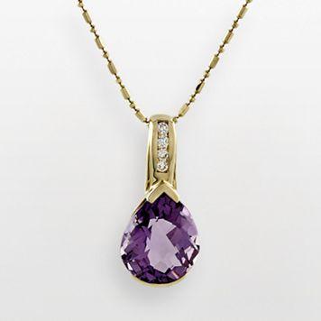 14k Gold Amethyst & Diamond Accent Pendant