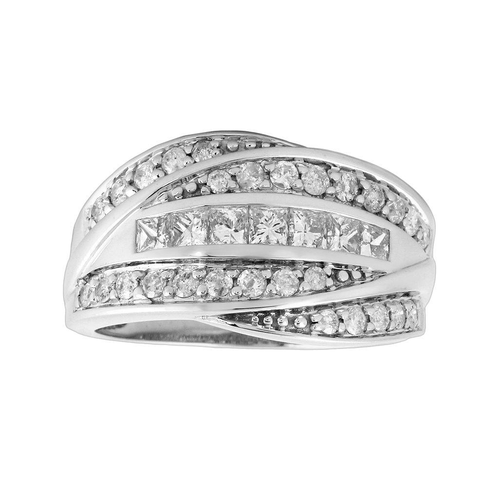 14k White Gold 1-ct. T.W. Diamond Bypass Ring
