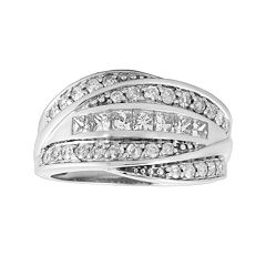 14k White Gold 1-ct. T.W. Diamond Bypass Ring