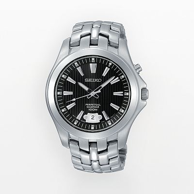 Seiko Stainless Steel Perpetual Calendar Watch - Men