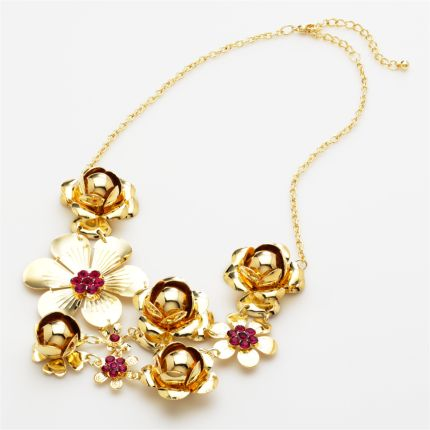 Candie's Gold-Tone Simulated Crystal Floral Bib Necklace