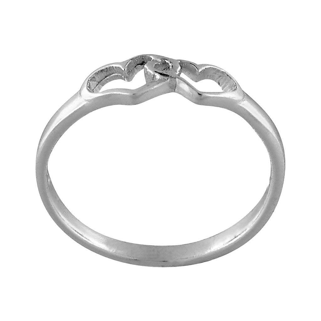 Sterling Silver Double-Heart Ring