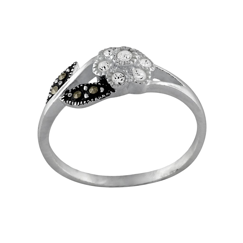 Sterling Silver Marcasite &CubicZirconiaFloral Ring