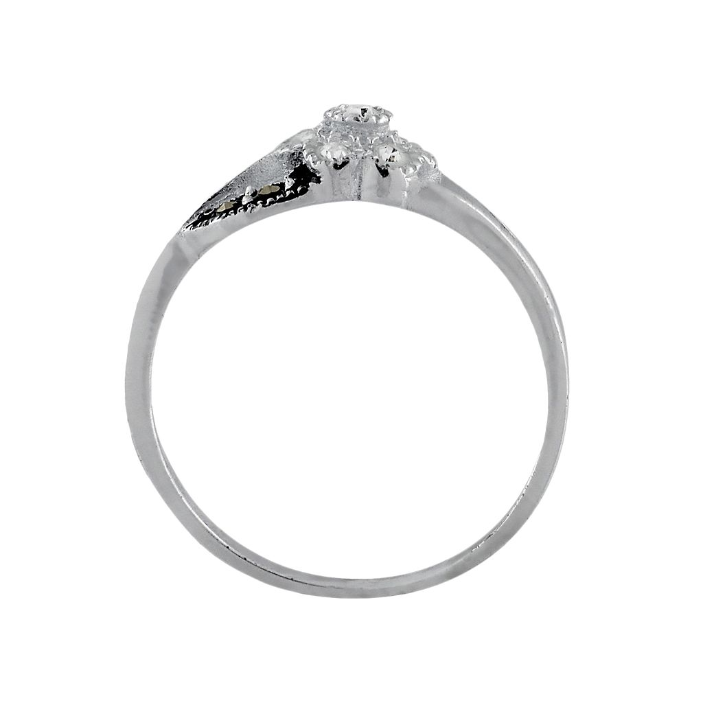 Sterling Silver Marcasite and Cubic Zirconia Floral Ring