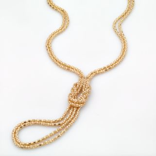 Gold-Tone Knotted Mesh Lariat Necklace