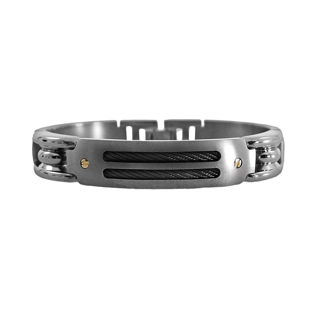 STI by Spectore 18k Gold & Gray Titanium 8 1/2-in. Cable Bracelet - Men