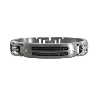 STI by Spectore 18k Gold and Gray Titanium 8 1/2-in. Cable Bracelet - Men