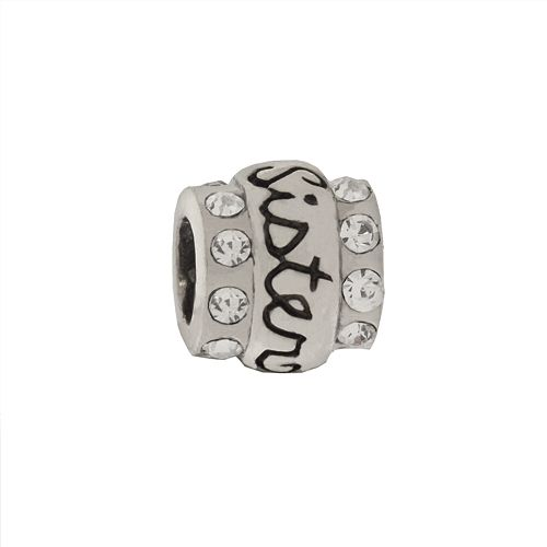 """Individuality Beads Sterling Silver Cubic Zirconia """"Sister"""" Bead"""