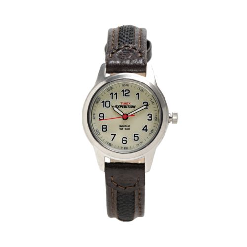 Timex Expedition Silver Tone Leather Watch - T41181 - Women