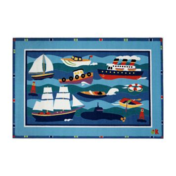 Fun Rugs™ Olive Kids™ Boats & Buoys Rug - 3'3'' x 4'10''