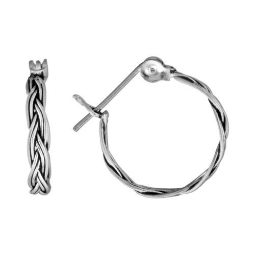 Sterling Silver Braided Hoop Earrings
