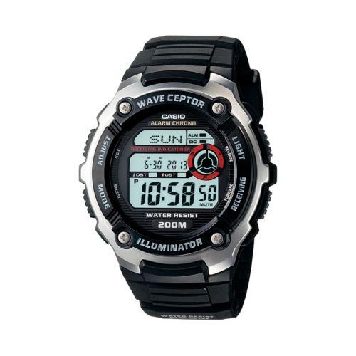 Casio Waveceptor Stainless Steel Atomic Chronograph Digital Watch - Men