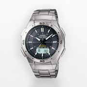 Casio Waveceptor Stainless Steel Solar Atomic Analog and Digital Watch - Men