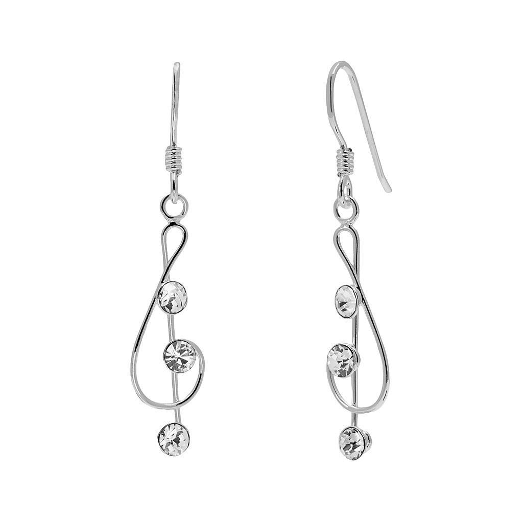 Sterling Silver Crystal Treble Clef Drop Earrings