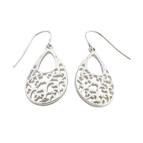 Silver Tone Teardrop Earrings