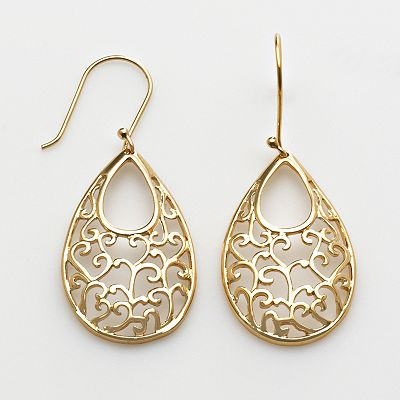 24k Gold-Over-Silver Filigree Teardrop Earrings