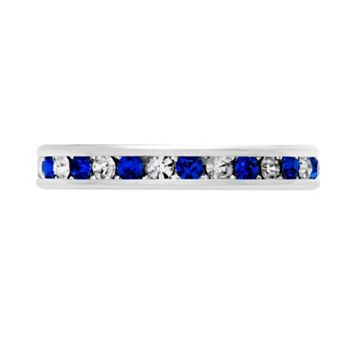 Silver-Tone Cubic Zirconia & Simulated Sapphire Eternity Ring