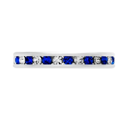 Silver-Tone Cubic Zirconia and Simulated Sapphire Eternity Ring