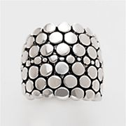 Silver-Tone Pebbled Dome Ring