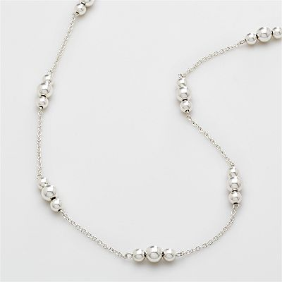 Chaps Silver-Tone Beaded Long Necklace