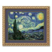 """Starry Night"" Gold Finish Framed Wall Art"