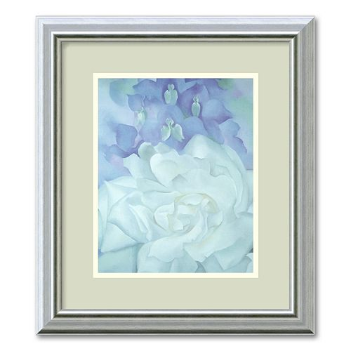 """White Rose with Larkspur, II"" Framed Wall Art"