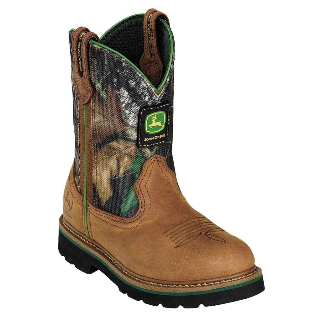 John Deere Boy's Camouflage Pull-On Western Boots