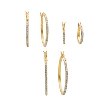 Diamond Mystique™ 18k Gold Over Silver Diamond Accent Hoop Earring Set