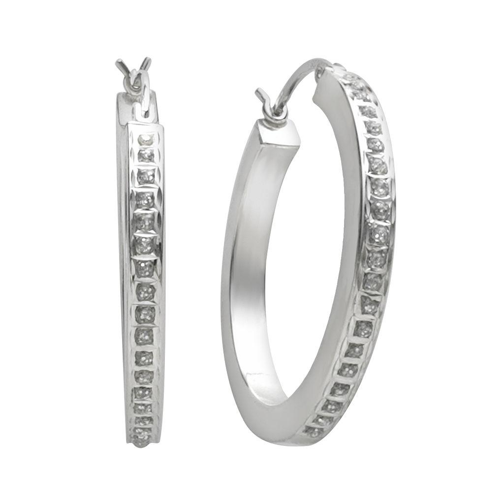 Diamond Mystique™ Platinum-Over-Silver Diamond Accent Hoop Earrings