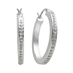 Diamond Mystique™ Platinum-Over-Silver Diamond Accent Hoop Earrings
