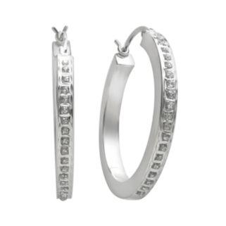 Diamond Mystique Platinum-Over-Silver Diamond Accent Hoop Earrings