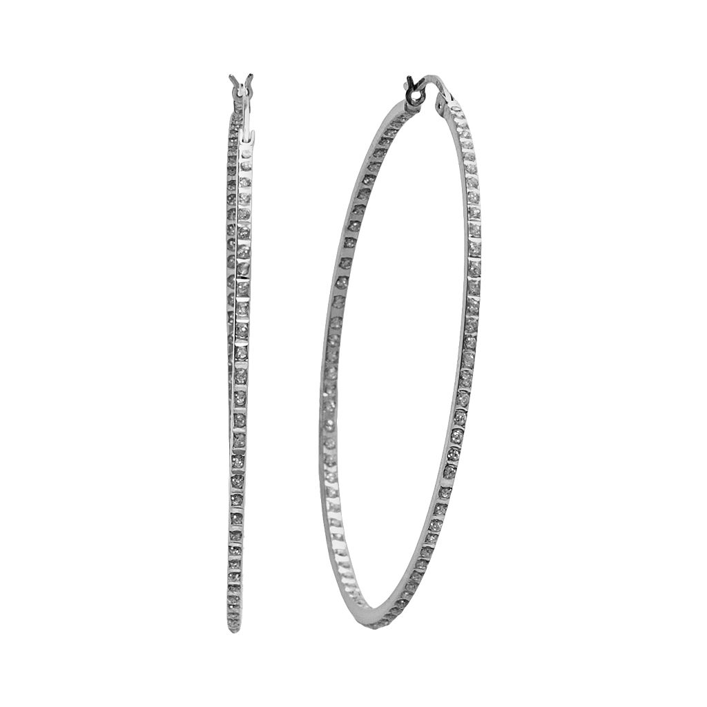 Diamond Mystique™ Platinum Over Silver Diamond Accent Hoop Earrings