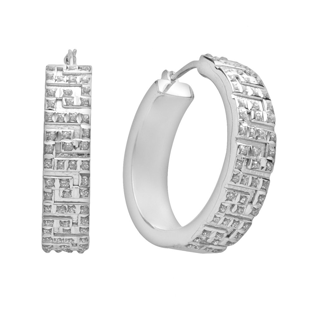 Diamond Mystique™ Platinum Over Silver Diamond Accent Greek Key Hoop Earrings