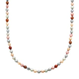 Freshwater by HONORA Sterling Silver Dyed Freshwater Cultured Pearl Long Necklace