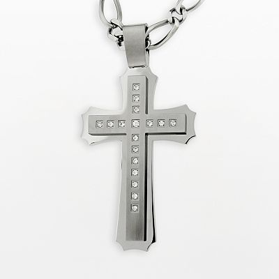 Stainless Steel Cubic Zirconia Cross Pendant - Men