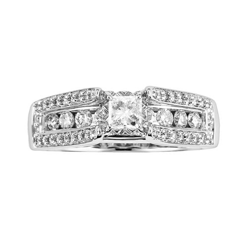 Cherish Always Princess-Cut Diamond Engagement Ring in 10k White Gold (1 ct. T.W.)