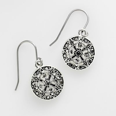 Trifari Silver Tone Simulated Marcasite Drop Earrings