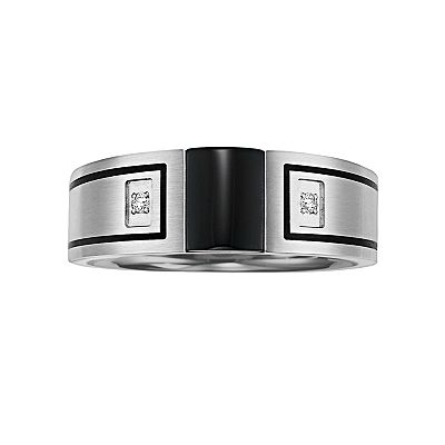 Stainless Steel Onyx and Diamond Accent Band - Men