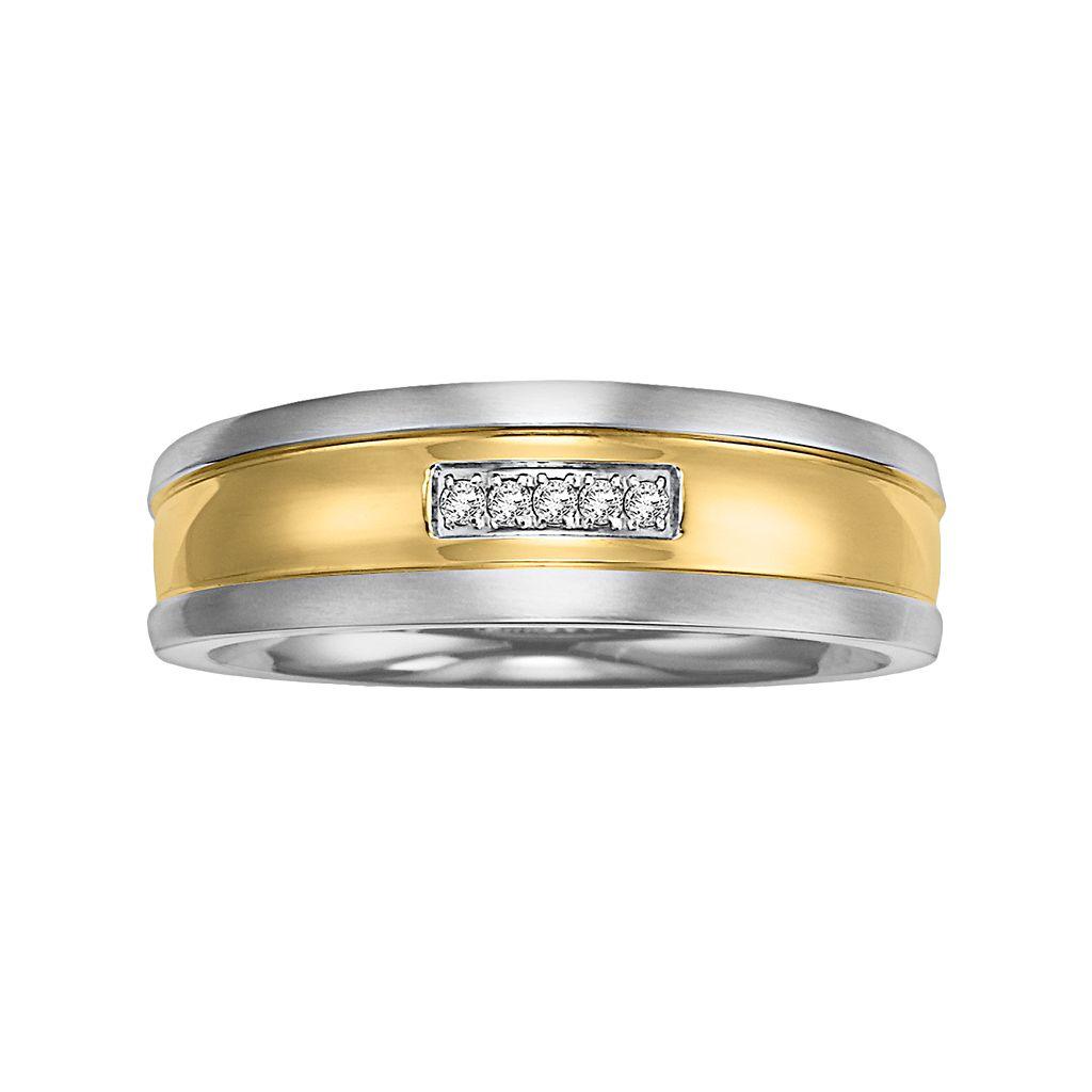 Cherish Always Stainless Steel Two Tone Diamond Accent Wedding Band - Men