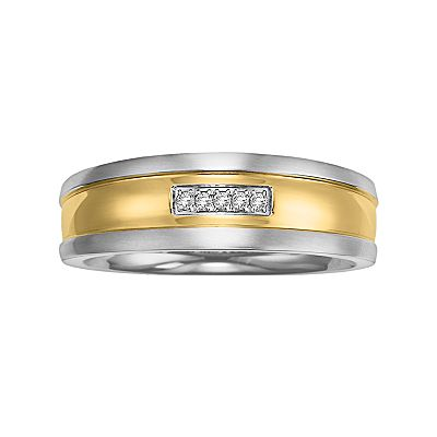 Stainless Steel Two Tone Diamond Accent Band - Men