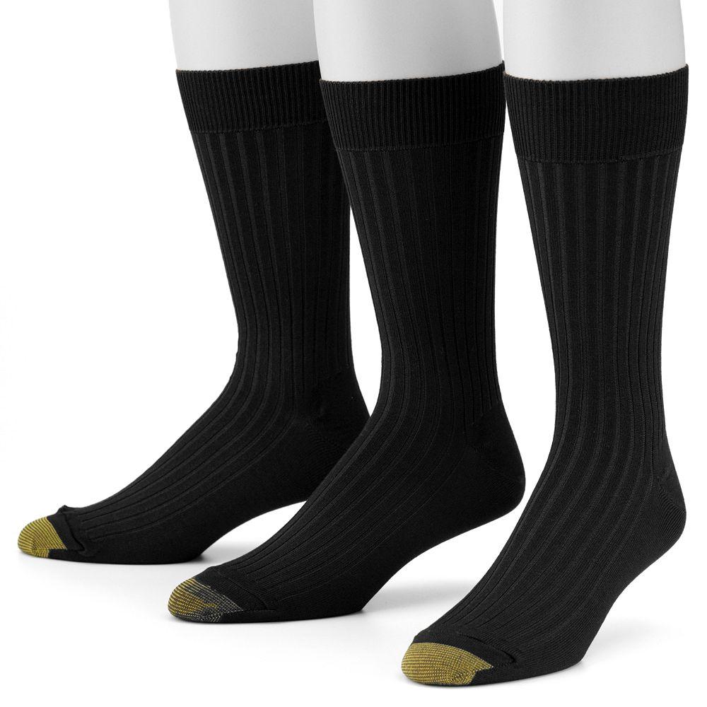 Mens GOLDTOE® 3pk Canterbury Crew Fashion Dress Socks