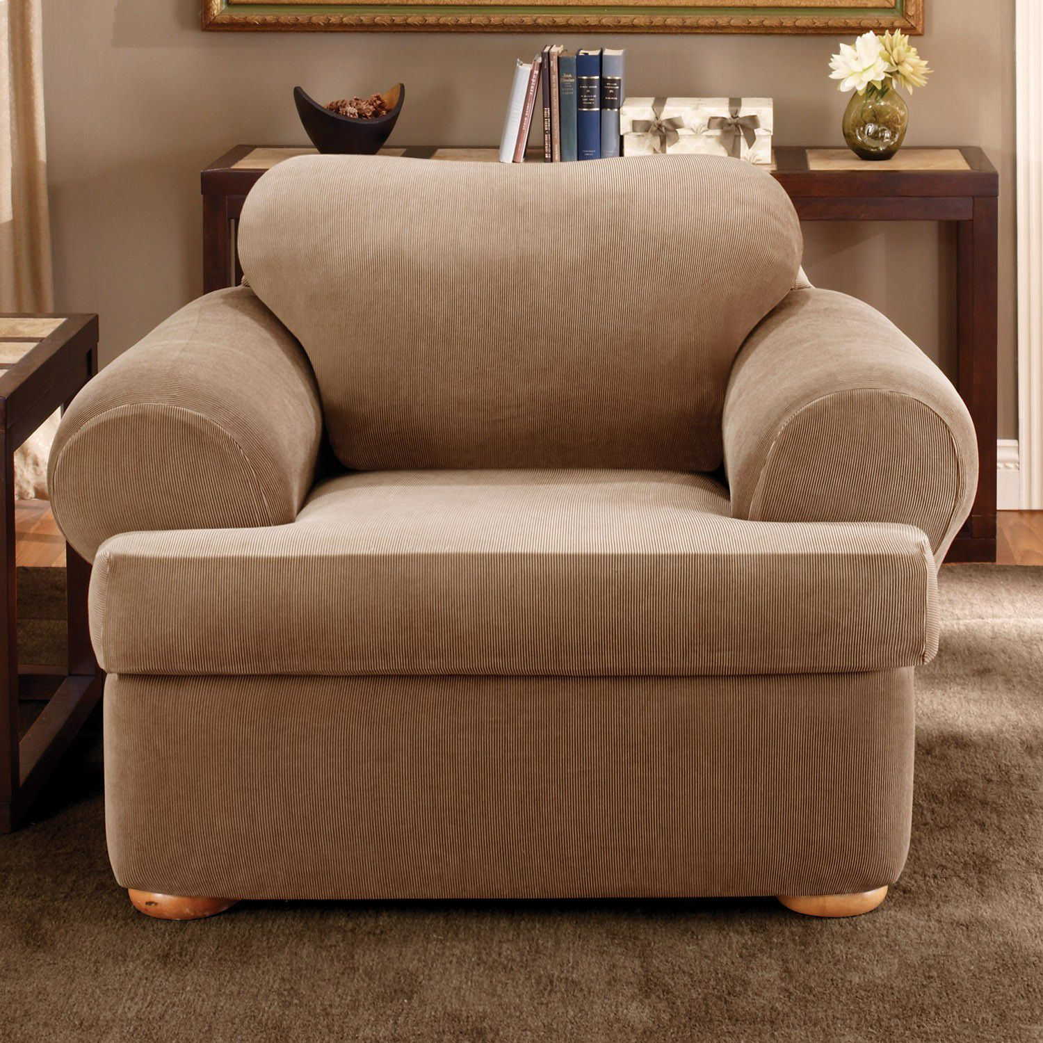 Sure Fit Sailcloth T Cushion Sofa Slipcover. Sale