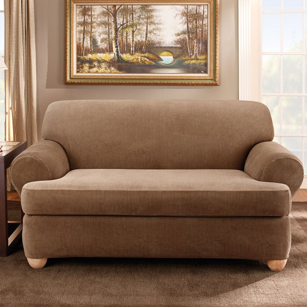 Sure Fit™ Striped T-Cushion Loveseat Slipcover