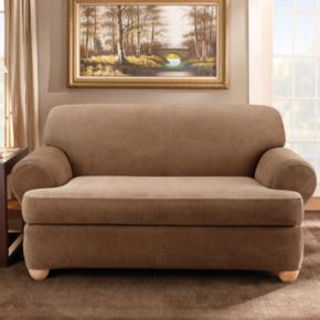 Sure Fit Striped T-Cushion Loveseat Slipcover