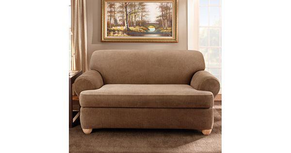 T Cushion Sofa Slip Cover: Sure Fit Striped T-Cushion Sofa Slipcover