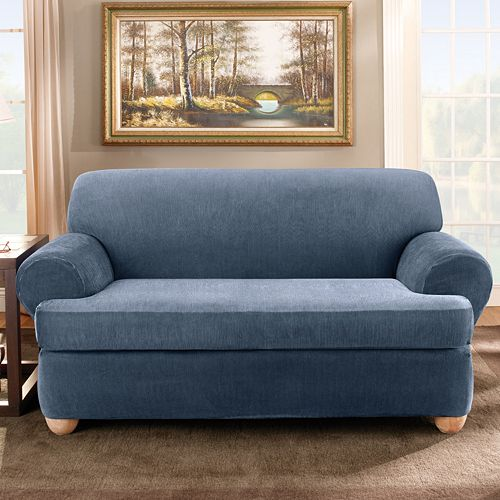 Sofa Slipcover With Separate Cushion Covers: Sure Fit™ Striped T-Cushion Sofa Slipcover