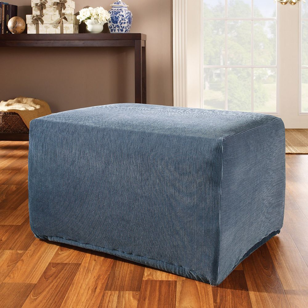 Sure Fit™ Striped Ottoman Slipcover - Fit™ Striped Ottoman Slipcover